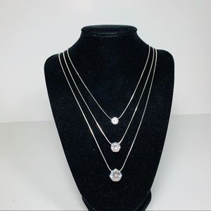 3 strands silver necklace